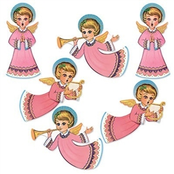 The Vintage Christmas Gltrd Angel Cutouts are made of cardstock and printed on two sides. One side is glittered. Sizes range in measurement from 14 1/2 in to 16 1/4 in. Contains 6 per package.