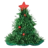 The Tinsel Christmas Tree Hat is a whimsical fabric lined hat featured green metallic fringes and decorated with round, red pom pom balls. A red felt star sits at the very top. This 15 inch tall hat will be sure to get your noticed. No returns.