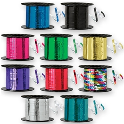Choose your favorite color and get 500 yards of Metallic Curling Ribbon. One side of the ribbon is printed in the color of your choice, and the backside is silver foil. Call Partycheap at 800-224-3143 for a complete list of current colors.
