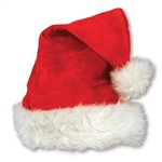 Red Velvet Santa Hat with Plush Trim