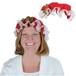 Our Mrs. Claus Hat is perfect for holiday photos or your office Christmas party. This red fabric hat has a white lace trim, and is sized to fit most adults. Please note that due to hygiene-related concerns, this item cannot be returned.