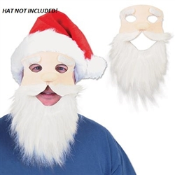 "This fabric Santa mask includes a long white beard attached to a white Santa face. Inside the beard there is a button that plays ""Jingle Bells"" when pressed. One Santa Mask per package. Not returnable."