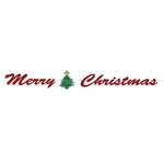 the merry christmas streamer features a prismatic glittered effect printed in red gold and - Christmas Hanging Decorations