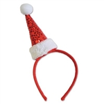The Sequined Santa Hat Headband is an easy to wear headband that gives any holiday outfit a festive look. The red felt covered plastic headband features a red sequined Santa hat with white faux-fur trim. Not eligible for return.