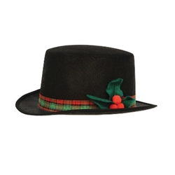 The Caroler Hat is a black hat with a colorful plaid band around the top and embellished with a felt poinsettia on the side. Has an inside circumference of 22 inches and is approx 4.5 inches high. One size fits most. One per package. No returns.