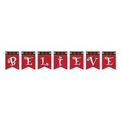 The Believe Streamer is red with red and green plaid border at the top with white letters. It is made of cardstock and each streamer measures 6 inches tall and 6 feet long. Each package contains 1 cord and 7 cards. Simple assembly required.