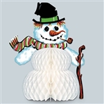 The Vintage Christmas Snowman Centerpiece is made of cardstock with a white tissue belly. It measures 11 inches tall. Completely assembled, opens full round. Contains one (1) per package.