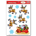 Santa and Sleigh Clings (10/sheet)