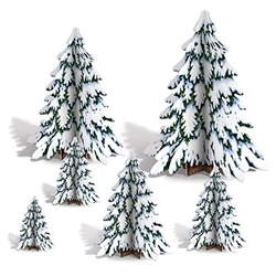 The 3-D Winter Pine Tree Centerpieces are made of cardstock and sizes range in measurement from 4 inches to 12 1/2 inches tall. Contains six (6) per package. Simple assembly required.