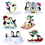 "Let everyone know just how ""chill"" your party is with these adorable Penguin Cutouts.  Each package comes with 6 pieces.  Each colorful, vibrant cutout is printed both sides on high quality cardstock.  Cutouts range from 12.5 to 18.5 inches in size."