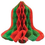 Art-Tissue Bell, Red and Green,  12 inches