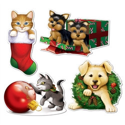 Christmas Puppy & Kitten Cutouts (4/Pkg)