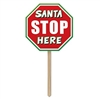 "This plastic red, white, and green yard sign is shaped just like a mini stop sign and reads ""Santa Stop Here"" in the middle and includes a wooden stake so you can easily place in the yard. Comes one (1) per package. Measures 12.5 inches x 24 inches"