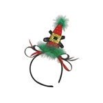 The Holiday Hat Headband is a mini red cone hat attached off center to a standard headband covered in black satin. It's has a black bow and a gold buckle with red and green marabou feathers along the base. One size fits most. 1 per pack. No returns.