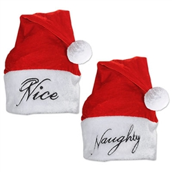 Naughty or Nice for your next holiday party . . . either way you're ready to go with this fun party wear.  This classic red and white Santa hat will let everyone know exactly which as soon as you walk in.