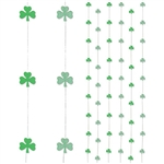 Three printed shamrock stringers and three glittered shamrock stringers included in each package. Each vertical stringer measures 6 feet in length. Easy hanging decoration for your upcoming St. Patrick's Day party.