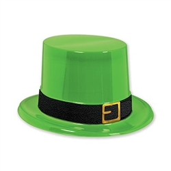 The Plastic Leprechaun Top Hat is made of vibrant green lightweight plastic with a black cardstock band around the brim. Fits full size head. One size fits most. One per package. No returns.