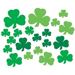 The Printed Shamrock Cutouts are made of cardstock and printed on two sides. Come in a variety of different shades of green. Sizes range in measurement from 5 inches to 11 1/2 inches. 20 per package.