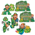 The St Patrick's Day Cutouts are made of cardstock and printed on two sides. Feature leprechauns painting a shamrock, sliding down a rainbow, listening to music, floating in the clouds, Happy St. Patrick's Day sign. Sized from 12 to 14 inches. 6 per pack