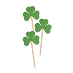 Spread a little luck of the Irish at your St. Patrick's Day, Fantasy, or Around the World themed party.  These Green glittered Shamrock Picks come 24 per pack. Shamrocks are printed one side on high quality card stock with attached toothpick.