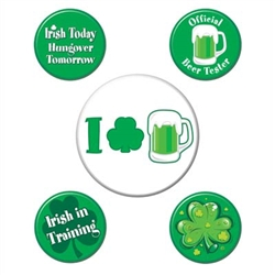 St. Patrick's Day Party Buttons (5/pkg)
