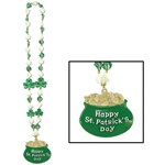 Shamrock Beads with Pot-O-Gold Medallion (1/pkg)