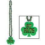 Braided Beads with Shamrock Medallion (1/pkg)
