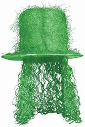 Green Tinsel Top Hat with Curly Wig