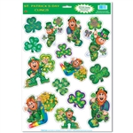 Leprechaun and Shamrock Window Clings