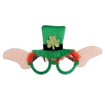 The Leprechaun Glasses are black plastic frames covered in glittery green fabric with orange eye brows. Decorated with a green top hat with a glittery shamrock in the center and ears on either side. Approx 12 in wide 5 in high. One per package. No return