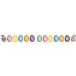 "The Easter Streamer is made of cardstock and printed on two sides. Features brightly colored egg cutouts with ""Hoppy Easter"" printed in white lettering. Measures 6 1/4 inches tall and 8 feet long. One per pack. Assembly required."