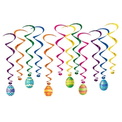 "Celebrate all things Easter with these fun, colorful and kinetic Easter Egg Whirls.  Each package comes with 12 whirls.  There are six 17.5"" long whirls and six 34"" long whirls with Easter egg danglers that are 7"" tall.  Easy to hang !"
