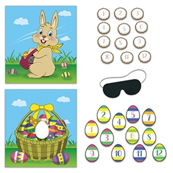 Add more fun to an already fun holiday with this 2-In-1 Easter Party Games set.  You're guest will love pinning the egg in the basket after finding all the hidden eggs, or pinning the bunny's tale after eating their chocolate rabbits.