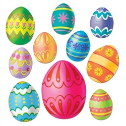 Colorful Easter Egg Cutouts (10/pkg)