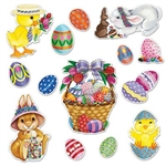 The Easter Basket & Friends Cutouts are made of colorful cardstock and printed on two sides. Sizes range in measurement from 4 inches to 15 1/4 inches. Contains 14 pieces per package.