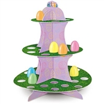 This 13.5 inch tall Easter Egg Stand is a colorful way to display Easter eggs or egg shaped candy. Three shelves contain multiple circular cutouts measuring 1.25 inches in diameter. Center support is lavender with printed multi color eggs. Simple assembly