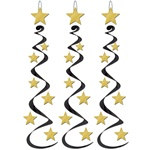Black and Gold Star Whirls (3/pkg)