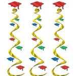 Multi-Color Graduation Cap Whirls (3/Pkg)