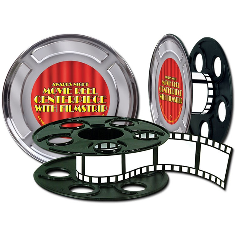 movie reel with filmstrip centerpiece - Hollywood Party Decorations