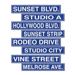 Hollywood Street Sign Cutouts (4/pkg)
