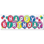Happy Birthday Sign Banner 63in x 21in  (1/pkg)