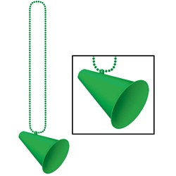 Green Beads with Megaphone Medallion (1/pkg)
