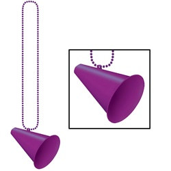 The Purple Beads with Megaphone Medallion (1/pkg) measure 33 inches long with a plastic purple megaphone attached to the end. One per package. No returns.