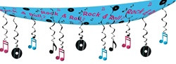 "Rock and Roll Ceiling Decor, 12""x12'  (1/Pkg)"