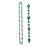 Wear this fun, cheap plastic necklace to a Cinco de Mayo party, or just to dress up your cowboy outfit. This 33 inch long green beaded necklace has tiny green cacti and includes 6 necklaces per package.