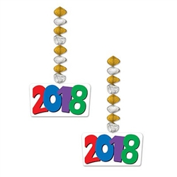 The 2018 Danglers feature brightly printed card stock icons displaying the year 2018, attached to gold and silver foil metallic coils. Icons are printed on both sides. Danglers measure 30 inches total length. Two danglers per package.