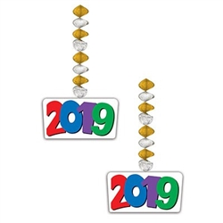 The 2019 Danglers measure 30 inches long and have a cardstock icon attached to the end. 2019 is printed in red, blue, purple, and green numbers and are attached to pleated metallic silver and gold foil circles. Each package contains two (2) pieces.