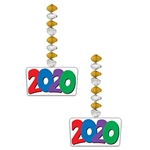 "Whether you're celebrating the New Year, graduation or an anniversary, these 2020 danglers are sure to add color, sparkle and motion to your venue.  Package contains 2 x 30"" danglers with 6.25"" x 3.5"" ""2020"" dangles."