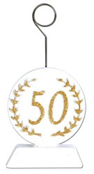 Gold Glittered 50th Photo/Balloon Holder