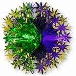 Gold, Green, and Purple Star Ball, 12 in